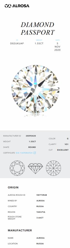 Beispiel eines Alrosa Diamond Passport, welcher die Herkunft und Rohgewicht dieses Diamanten zeigt.