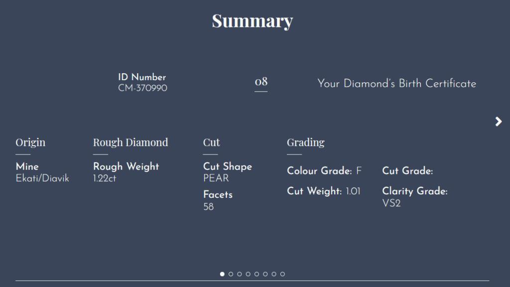 Beispiel einer Online-Abfrage bei Canadamark für einen Herkunftsnachweis. Dieser tropfenförmige Diamant wurde in der Ekati/Diavik Mine als 1.22 Karat grosser Rohdiamant gefunden.