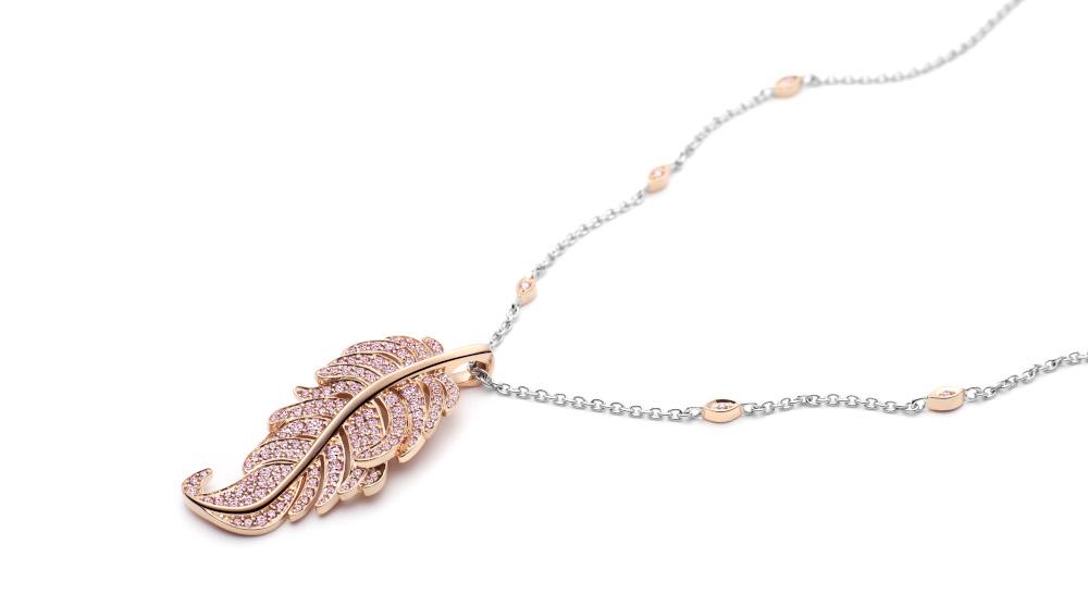 Diamantschmuck Kette Weissgold Gelbgold Anhänger Farbe Pink Diamanten Brillanten